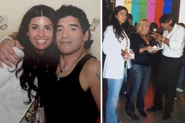 Vanesa Bafaro, jefa de prensa de eltrece, junto a Diego Maradona, Claudia Villafañe y el productor general Coco Fernández