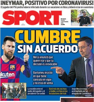 El diario catalán Sport remarcó la falta de acuerdo en las negociaciones en Barcelona