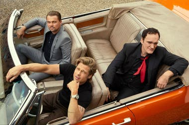 Quentin Tarantino y sus dos estrellas masculinas, Leonardo Di Caprio y Brad Pitt