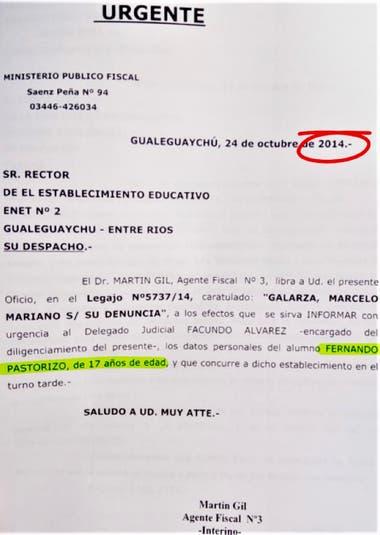 Pedido de informes sobre Fernando Pastorizzo en el contexto de la denuncia por agresión en manada a Nahir Galarza, en 2014