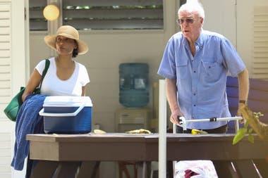 Caine y su mujer, en el Caribe en 2018 cuando él se reponía de una lesión