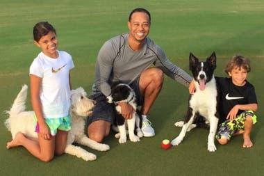 Tiger de entrecasa, con sus hijos, Sam Alexis y Charlie