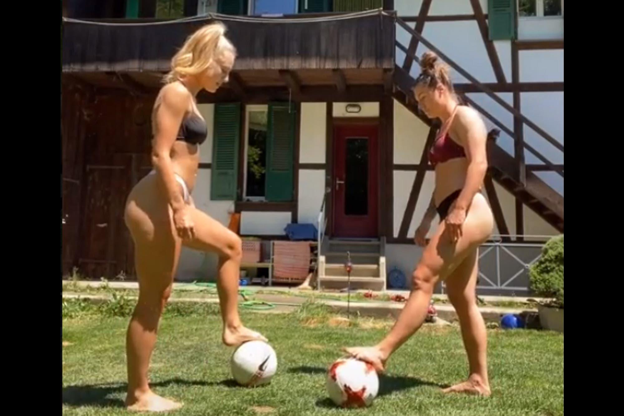 """Viral: el """"Oh Nanana Challenge"""" en bikini de dos futbolistas suizas"""