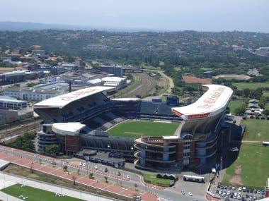 Vista aérea del estadio con capacidad para 52.000 espectadores