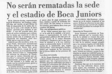 Alivio boquense: la nota de LA NACION del 5 de diciembre de 1984, que anuncia que la Bombonera no será rematada