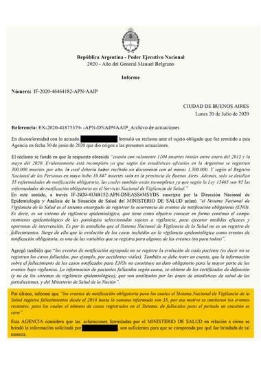 La respuesta del Ministerio de Salud ante el reclamo de LA NACION