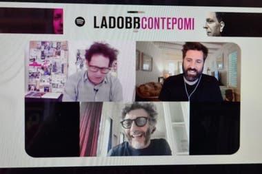 Bebe Contepomi junto al representante de Spotify para América Latina y Fito Paéz