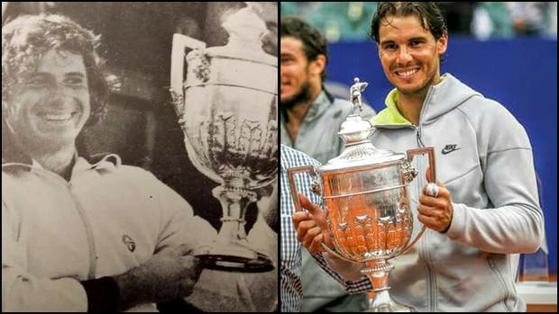Guillermo Vilas, dos campeones en Buenos Aires, con el emblemático trofeo