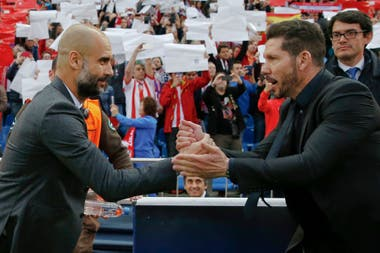Pep Guardiola y Diego Simeone. UEFA Champions League