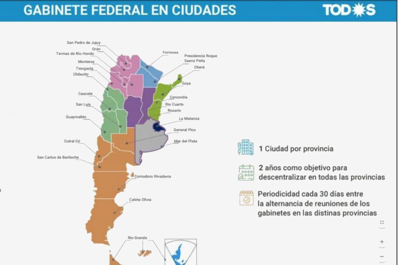 Los errores del mapa de las capitales alternativas que propone Alberto Fernández