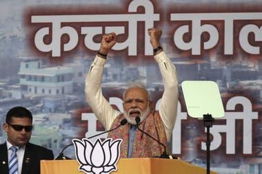 El primer ministro indio, Narendra Modi, en el mitín de su partido