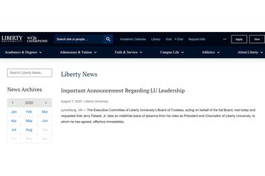 El breve comunicado difundido por la Liberty University para explicar la remoción de Falwell (h) como su máxima autoridad