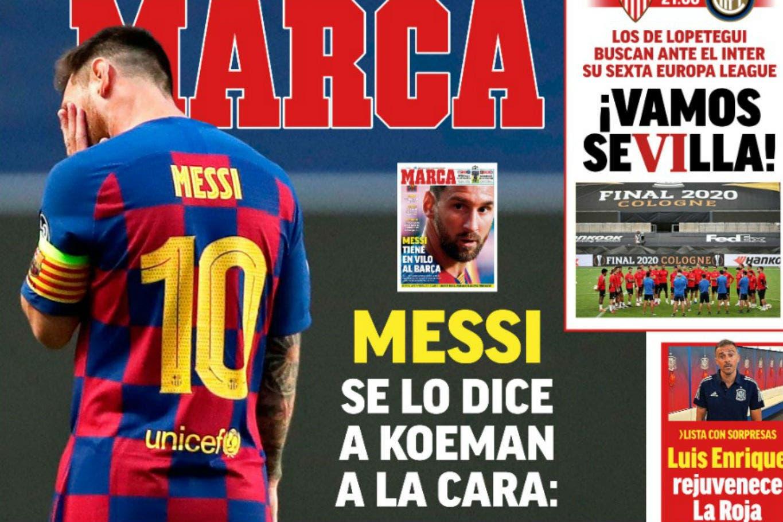 """El futuro de Lionel Messi: """"Me veo más afuera que dentro"""", el título en las tapas de los diarios de España sobre su posible salida de Barcelona"""