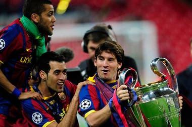 Messi con la Champions de 2011, con el club Barcelona