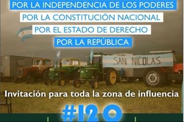 Productores de San Nicolás convocaron a la marcha de esta tarde con este flyer