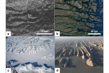 Una comparación de las teselas de Venus (arriba a la izquierda) con los patrones de erosión de los ríos en Canadá (arriba a la derecha), Groenlandia (abajo a la izquierda) y China (abajo a la derecha)