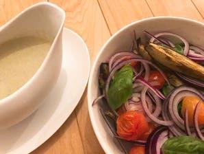 Ensalada de berenjenas asadas y su vinagreta de yogur