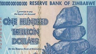 El billete de los 100 billones de dólares zimbabuenses.