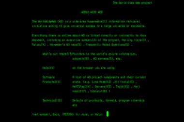Una recreación de cómo se veía el primer sitio Web con las computadoras de la época