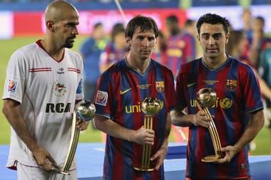 La cara de Verón en la entrega de premios es elocuente: en 2009, el Barcelona de Messi y Xavi le ganó a Estudiantes la final del Mundial de Clubes en el alargue