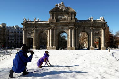 Un hombre saca fotografías a su perro frente a la Puerta de Alcalá, en Madrid