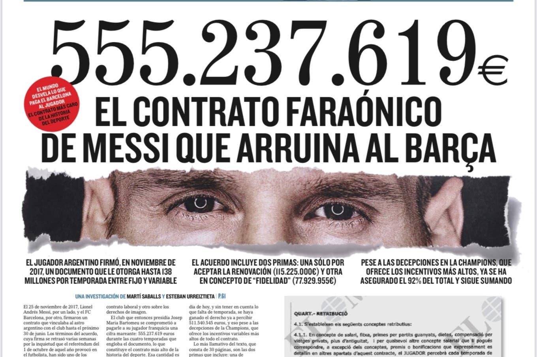 """El contrato de Lionel Messi: El Mundo reveló """"el acuerdo faraónico que  arruina a Barcelona"""" - LA NACION"""