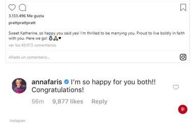 Anna Faris felicitó a su ex Chris Pratt por el anuncio de casamiento