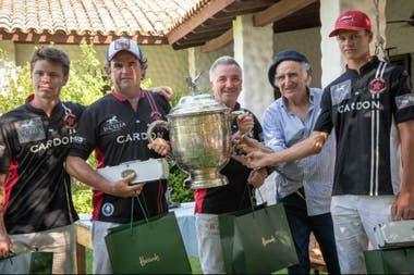 Alberto Pedro Heguy, con el equipo de La Paz, el campeón del torneo Interestancias: Segundo Pasquini, Eduardo Heguy, Julio Barbero y Will Harper