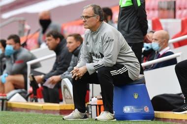 Marcelo Bielsa, manager del Leeds, durante el partido.
