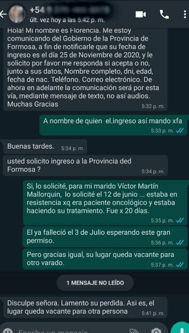 La viuda de Mallorquín subió a su cuenta de Facebook el chat que tuvo con la empleada del gobierno de Formosa que le notificó que su marido ya podía regresar a la provincia