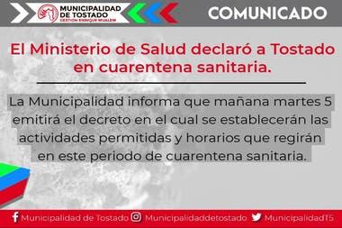 La ciudad de Tostado, en Santa Fe, vuelve a la fase 1 del aislamiento