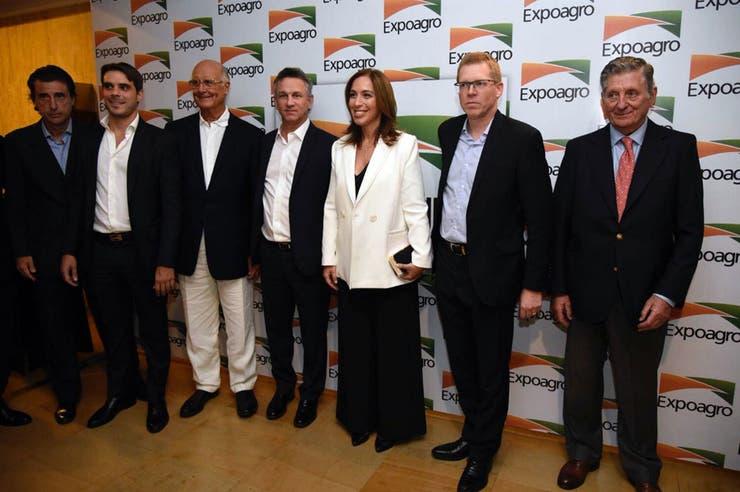 Fernán Saguier, la gobernadora Vidal, Juan Curutchet y José Claudio Escribano, entre otros, en el evento de Expoagro