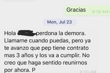 Una captura de la conversación por Whatsapp entre un emisario de la AFA y Pere Guardiola, hermano y representante de Pep