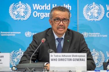 El director general de la Organización Mundial de la Salud (OMS), Tedros Adhanom Ghebreyesus, durante la rueda de prensa diaria del organismo sanitario internacional