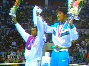 El podio, donde Park Si-hun fue abucheado por los propios surcoreanos