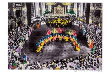Recuerdos en color. La imagen, fotografía histórica intervenida por el artista Marcelo Brodsky para su libro El alma de un gigante (publicado por el Teatro Colón, en 2019), evoca la tradición de aquellos carnavales que en los años 30 copaban la sala principal y transformaban la platea despoblada de