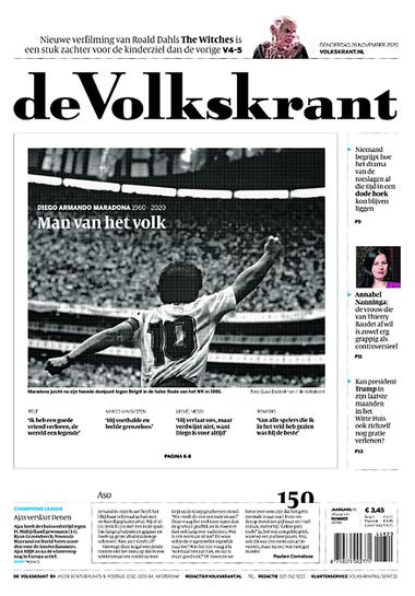 """La portada del diario deVolkskrant, de Holanda: """"Hombre del pueblo"""", dice la tapa del periódico, tercero en tirada de ese país."""
