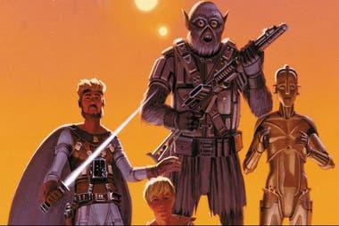 Este es uno de los primeros bocetos que el dibujante Ralph McQuarrie elaboró a partir de los primeros escritos de Lucas. Allí está Luke Skywalker, el joven Annikin, Chewbacca y C3PO.