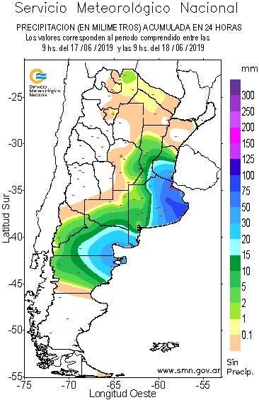 Las precipitaciones de las últimas 24 horas