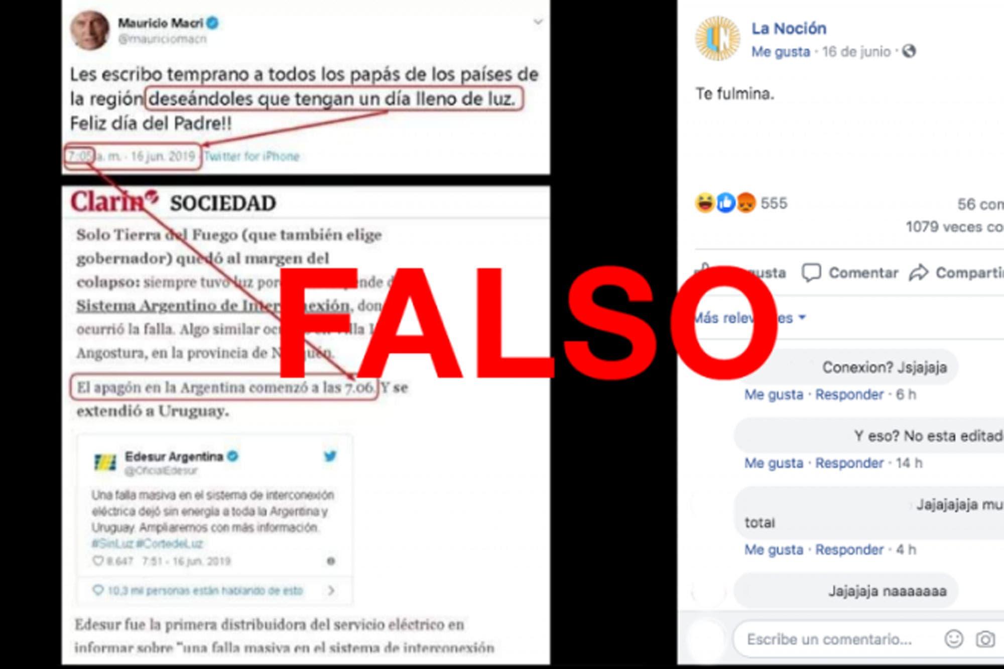 Es falso el tuit de Mauricio Macri por el Día del Padre un minuto antes del apagón