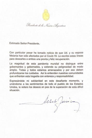 La carta de Alberto Fernandez a Donald Trump por haberse contagiado de coronavirus