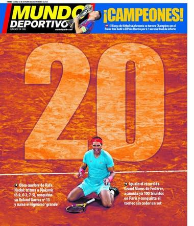 """""""20"""", la referencia a los títulos grandes de Rafa, en Mundo Deportivo, de Catalunya"""