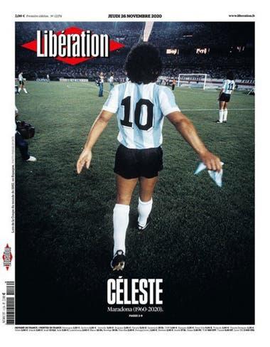 """""""Celestial"""". El mensaje del diario Libération por la muerte de Diego Armando Maradona, la que retratan en el estadio Monumental."""