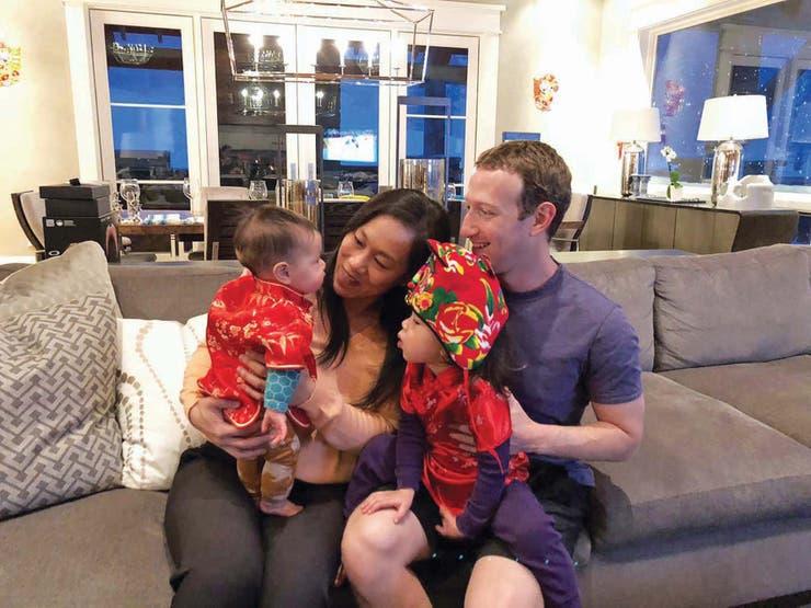 Mark Zuckerberg, su mujer Priscilla Chan y sus hijas Máxima y August.