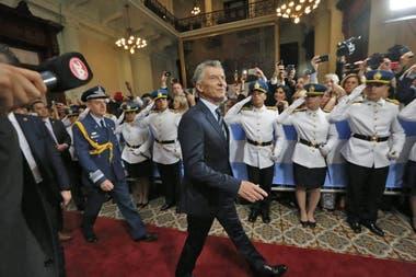 Mauricio Macri al llegar al Congreso