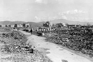 Vista de una parte de la ciudad arrasada por la bomba en Hiroshima