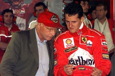 Niki Lauda y Schumacher, juntos, varios años atrás