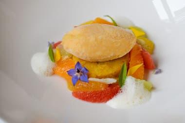 Sorbet de mandarina con gajos cítricos