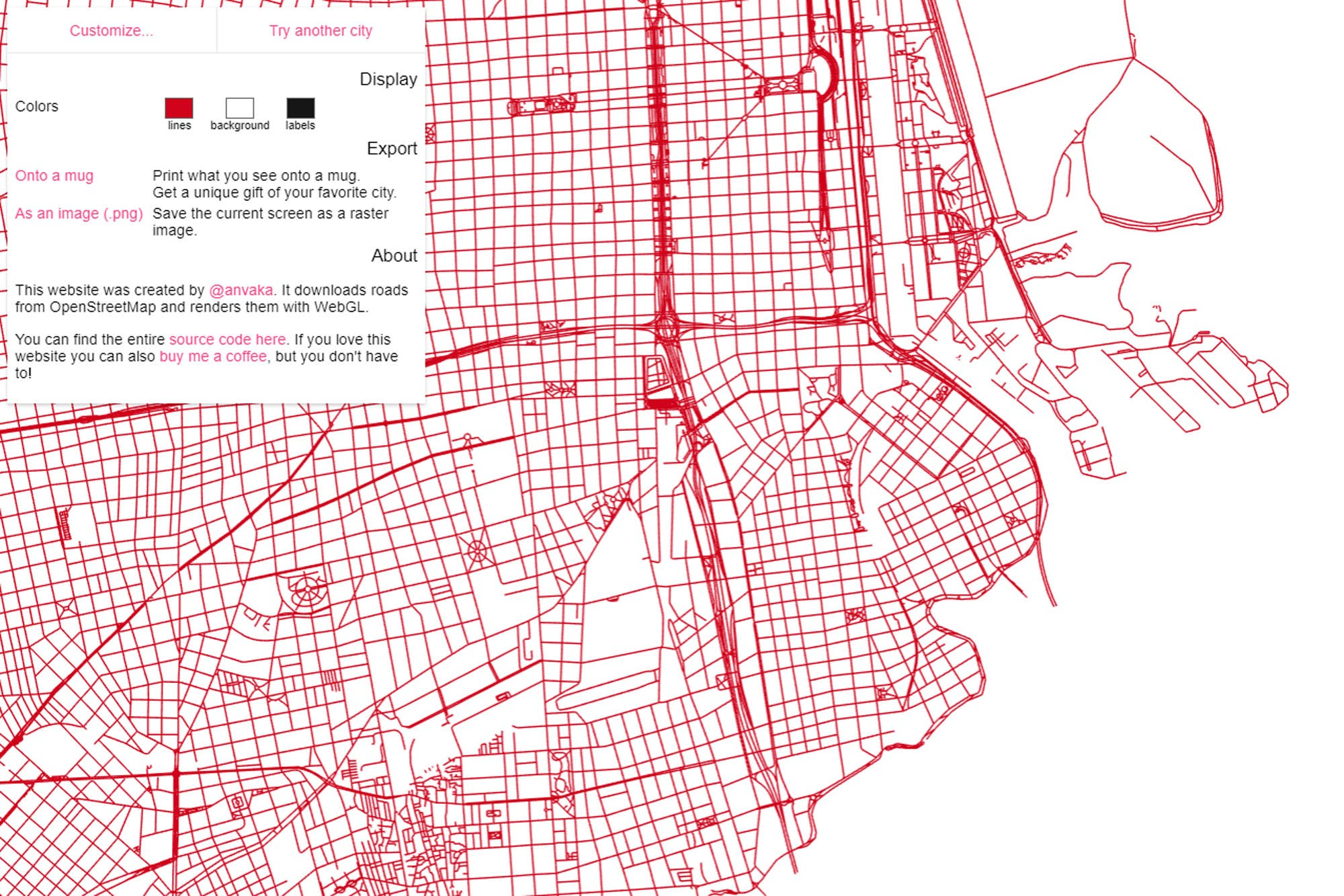 Cómo imprimir un mapa sin textos con las calles de tu ciudad con City Roads