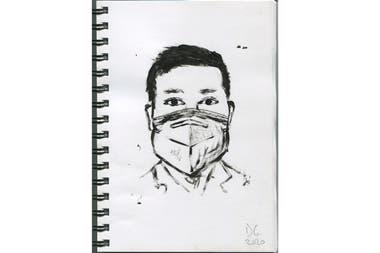 En su cuaderno de bocetos, Daniel García realizó en febrero un retrato de Li Wenliang, el oftalmólogo chino que advirtió sobre el virus